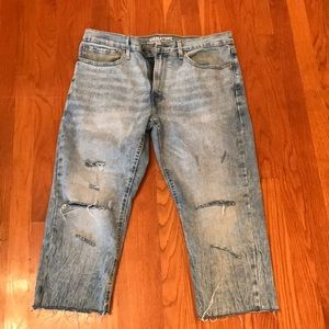 Levi Strauss Cropped and Distressed Jeans